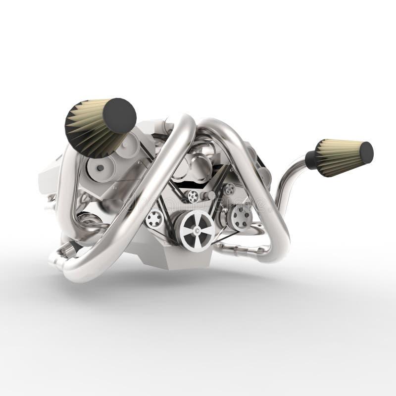 Briljant stor automatisk V8 motor med en turbo framförande 3d royaltyfria bilder