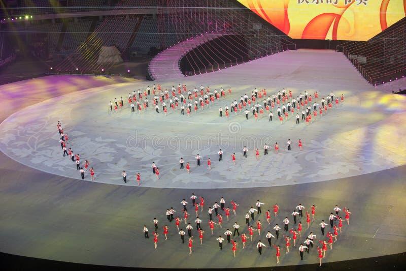 Briljante hoop: de Zevende Nationale Stadsspelen die ceremonierepetitie openen royalty-vrije stock fotografie