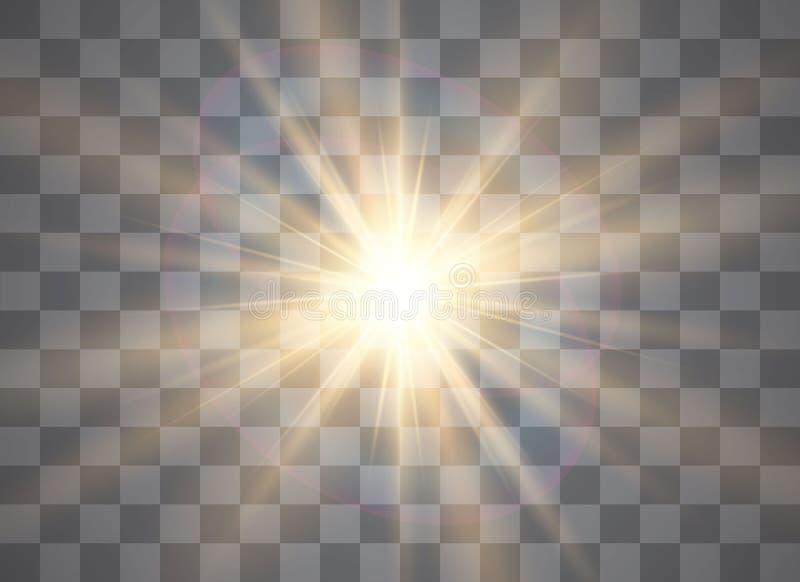 Brilla intensamente el efecto luminoso, explosión, brillo, chispa, flash del sol Ilustración del vector libre illustration
