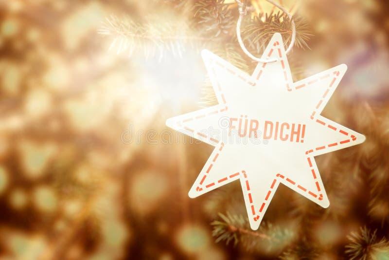 Brillamment étoile de Noël avec le texte allemand, pour vous photos libres de droits