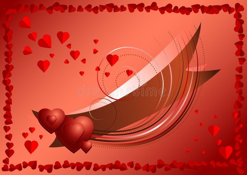 Brillamment bande avec des coeurs dedans encadrés des coeurs rouges illustration stock