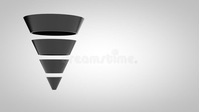 Brillant-simple Étape-noir de l'entonnoir Marketing-4 images stock