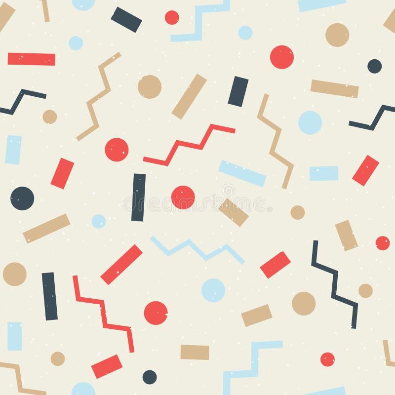 Brillante, abigarrado, modelo inconsútil de la diversión Fondo festivo Formas geométricas simples Rectángulos, círculos, zigzags stock de ilustración