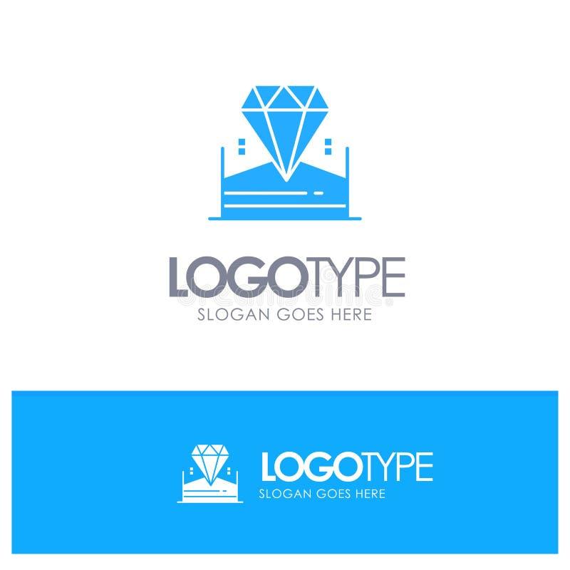 Brillante, diamante, joya, vector azul del logotipo del hotel stock de ilustración