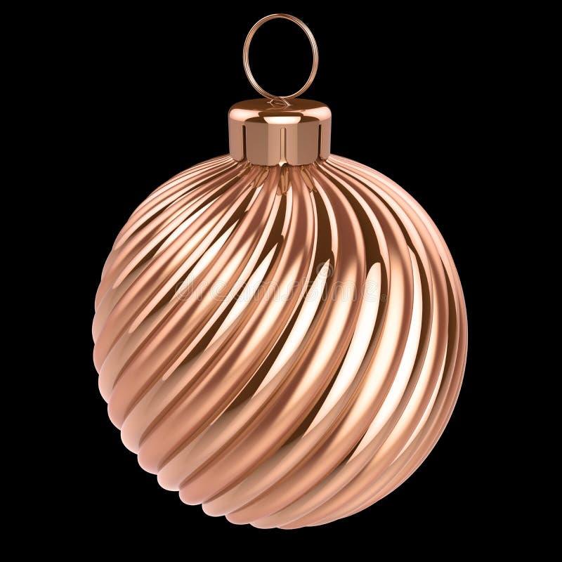 Brillante dorato della palla di Natale Decorazione della bagattella del ` s EVE del nuovo anno royalty illustrazione gratis