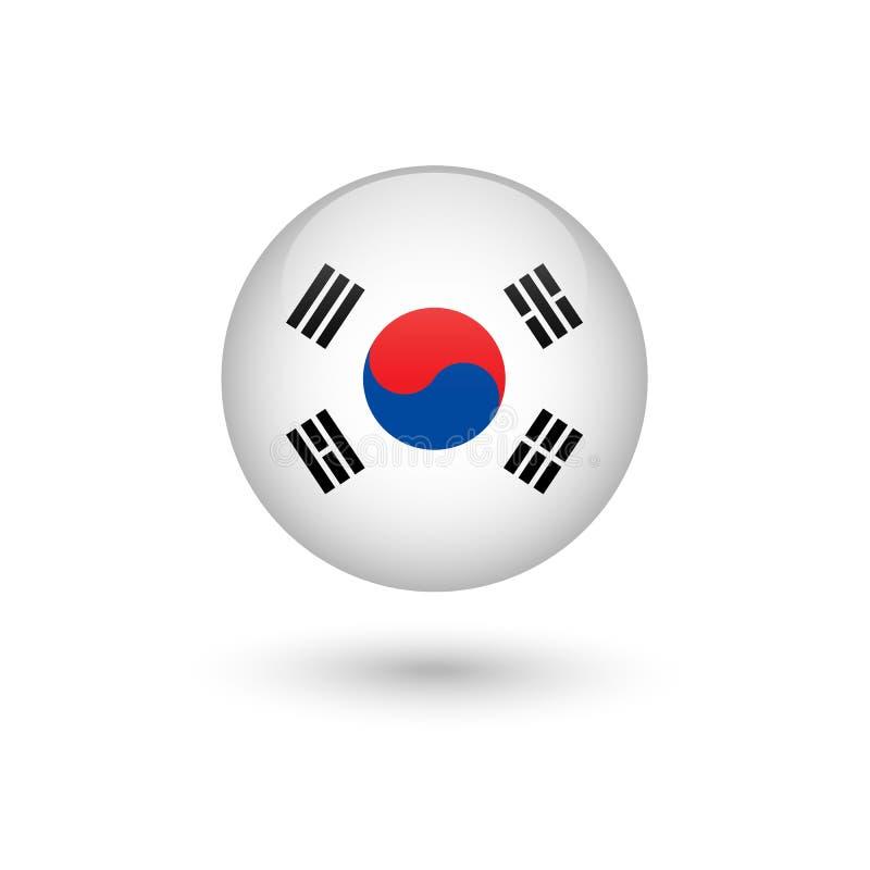 Brillante redondo de la bandera de la Corea del Sur stock de ilustración