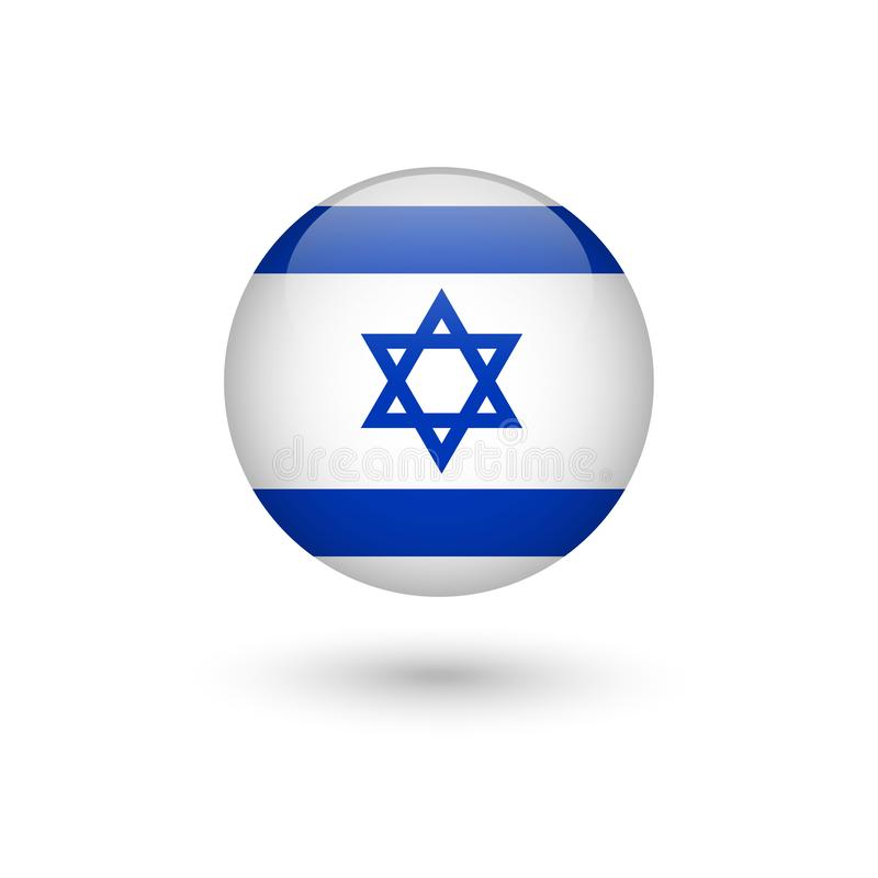 Brillante redondo de la bandera de Israel libre illustration