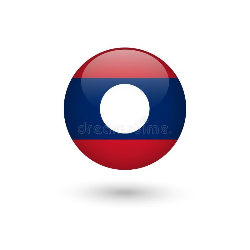 Brillante redondo de la bandera de Laos libre illustration