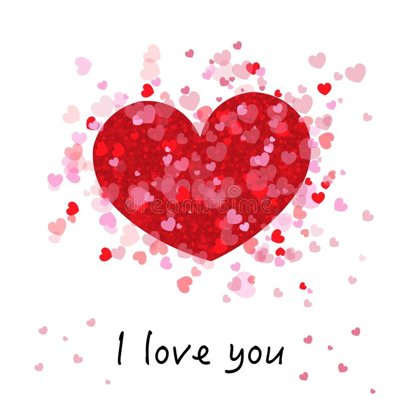Brillante rojo y rosado romántico lindo muchos corazones `` te quiero `` texto Tarjeta de felicitación feliz del día del `s de la libre illustration