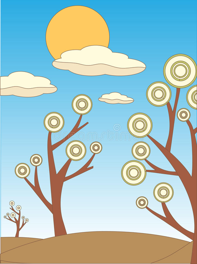 Brillante seque el bosquejo abstracto coloreado del sol de los árboles ilustración del vector