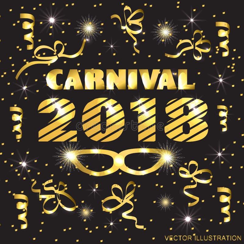 Brillantemente negro y ejemplo del oro para el carnaval libre illustration