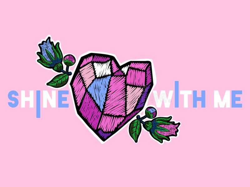 Brille conmigo el lema con las flores y la gema para las ropas de la moda, camiseta del bordado stock de ilustración
