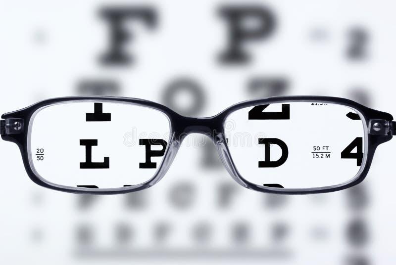 Brillen und Augendiagramm stockbilder