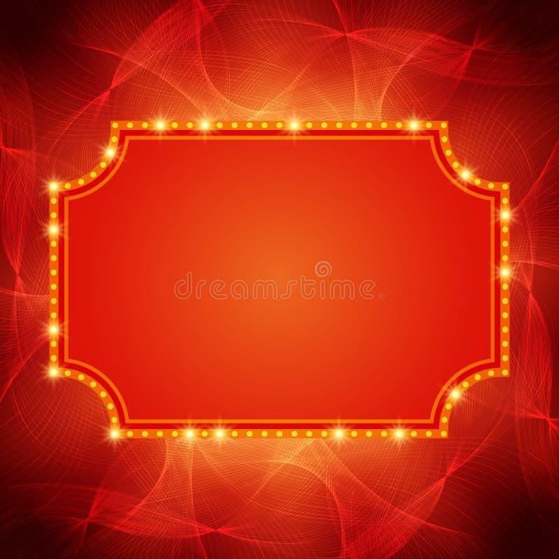 Briller ondule le fond avec la rétro bannière de lumière de casino illustration stock