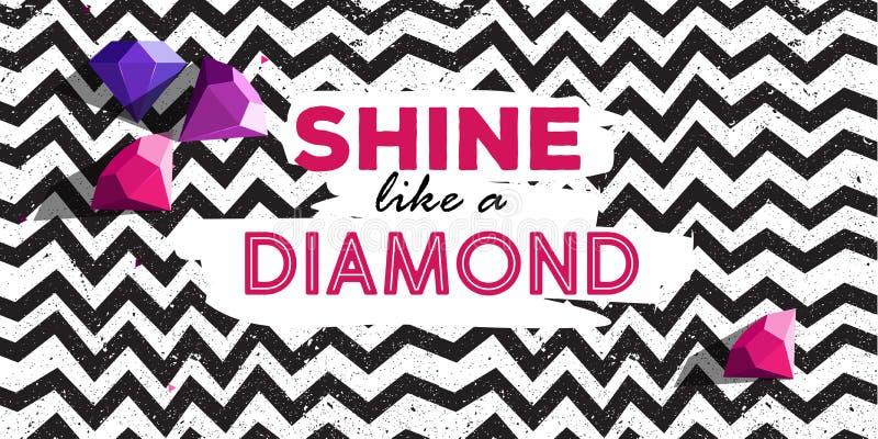 Brillez comme une affiche de dimond avec la ligne des roches de modèle et de diamant de zigzag illustration de vecteur