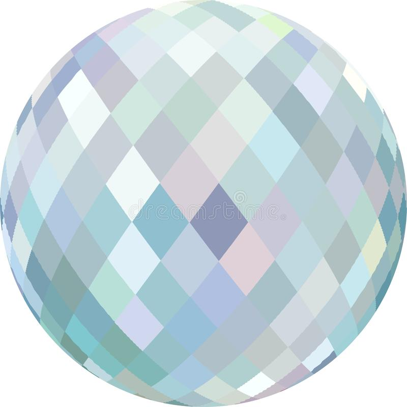 Brilliance crystal globe 3d graphic. Glass light blue bead on white background isolated. Creative image for any design. Simple graphics. Great template for stock illustration