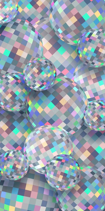 Brilliance spheres 3d background. Holographic glass balls pattern. Abstract diamonds creative vertical banner. royalty free illustration