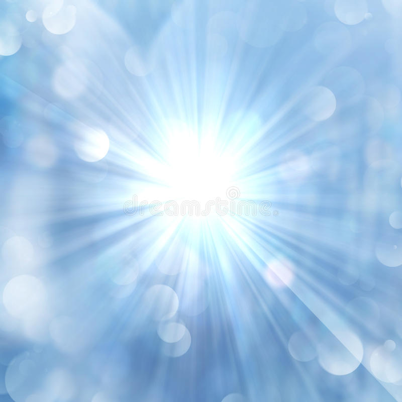 Brilliance of sun beams sparkle from center. On twinkling blue luminous abstract background stock illustration