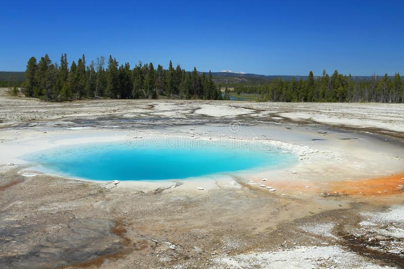 Brilliant Colors of Opal Spring in het Geyser Basin, Yellowstone National Park, Wyoming stock afbeelding