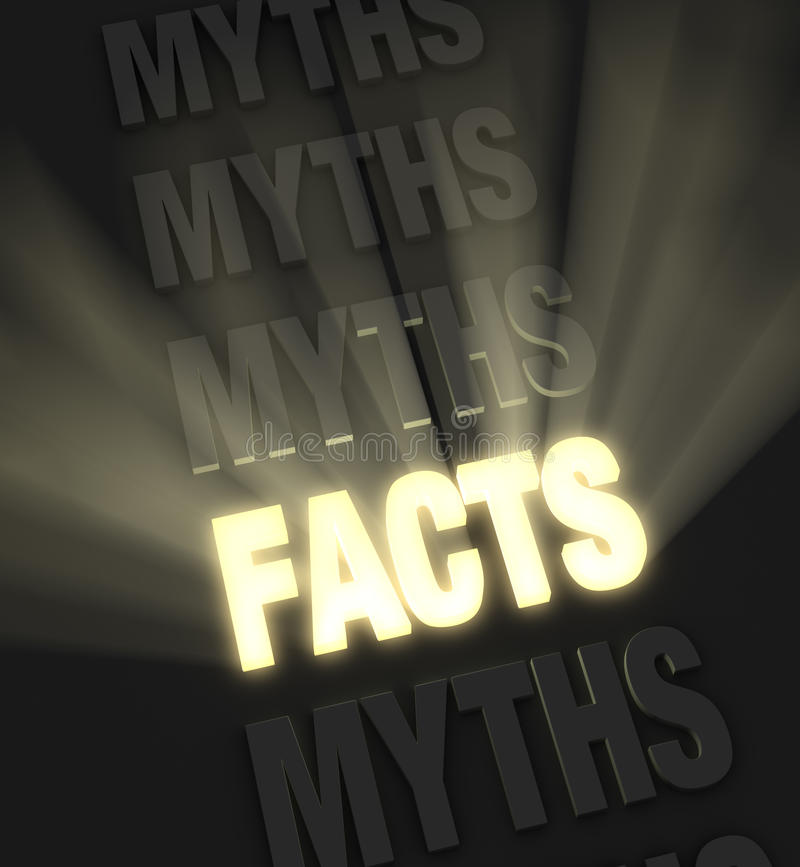 Brilliant Facts. Brilliant light rays burst from a glowing, gold FACTS in a row of MYTHS on a dark background royalty free illustration