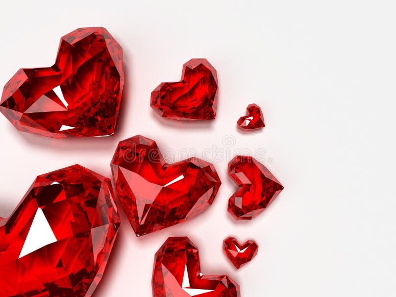 Brilliant hearts. 3d rendered illustration of red brilliant hearts stock illustration