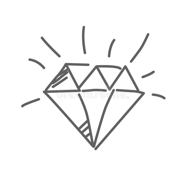 Brilliant icon, diamond in doodle style, vector illustration vector illustration