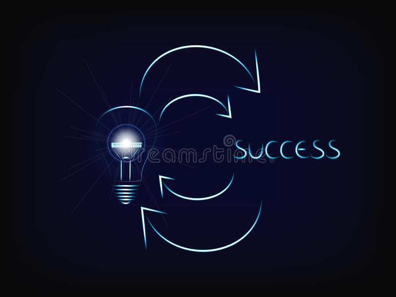 From a brilliant idea lightbulb with flare to success and agai stock illustration