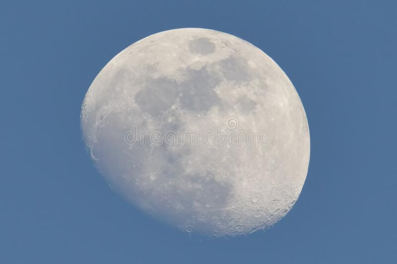 Brilliant late day winter / spring moon during clear skies on March 27, 2018 taken at the Crex Meadows Wildlife Area in Northern W. Isconsin royalty free stock images
