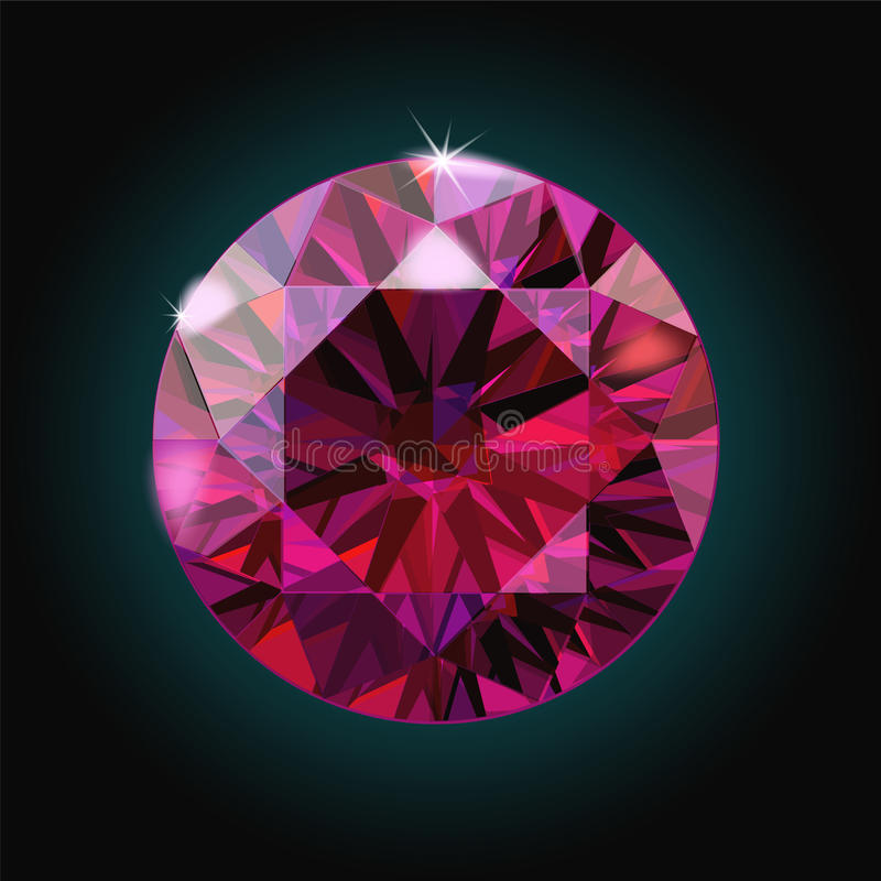 Brilliant ruby on black background. Red Crystal. Vector. Illustration vector illustration