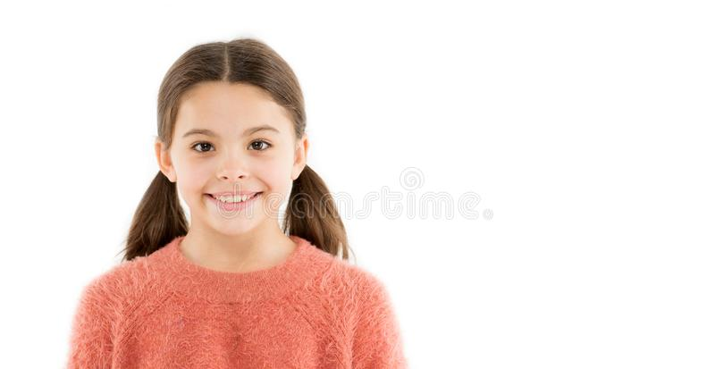 Brilliant smile. Child happy cheerful enjoy childhood. Girl adorable smiling happy face. Kid charming brilliant smile royalty free stock photos