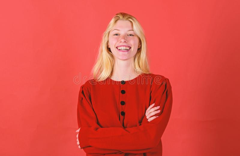 Brilliant smile concept. Girl blonde happy smiling face over red background. Emotional woman happy smiling face. Sincere royalty free stock images