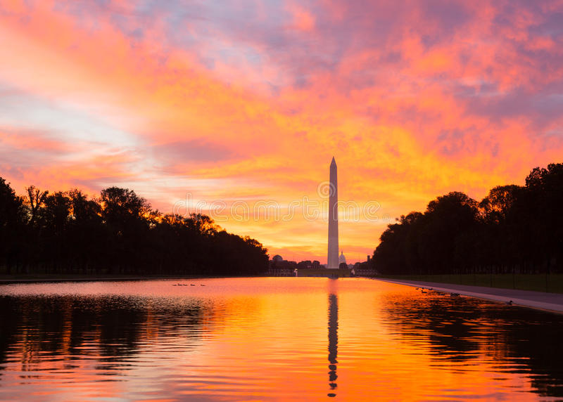 Brilliant sunrise over reflecting pool DC royalty free stock images