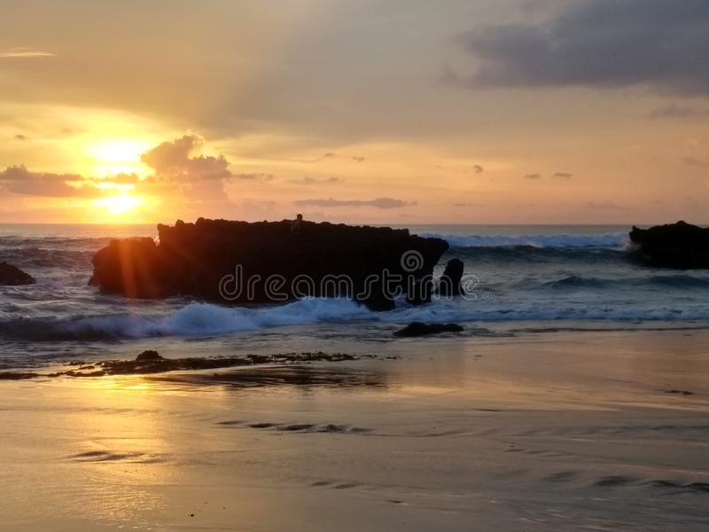 Brilliant sunset in Bali stock photos