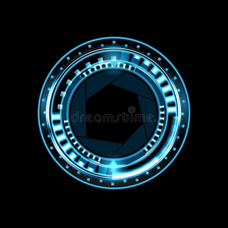 Brilliant technological eye HUD on a black background. Lens with aperture. illustration. Brilliant technological eye HUD on a black background. Lens with royalty free illustration
