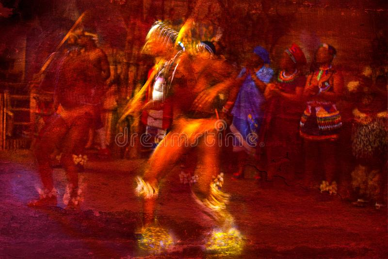 Brilliantly colored African Dancers in motion against a red textured background stock photos