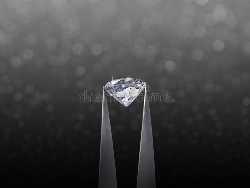 Brillliant round diamond in tweezer on black shining bokeh background. concept for chossing best diamond gem design royalty free stock photo