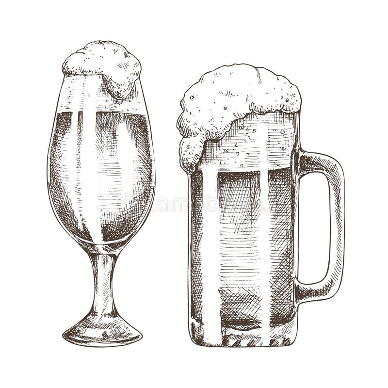 Brillo Ale Goblets y arte gráfico de la cerveza espumosa ilustración del vector