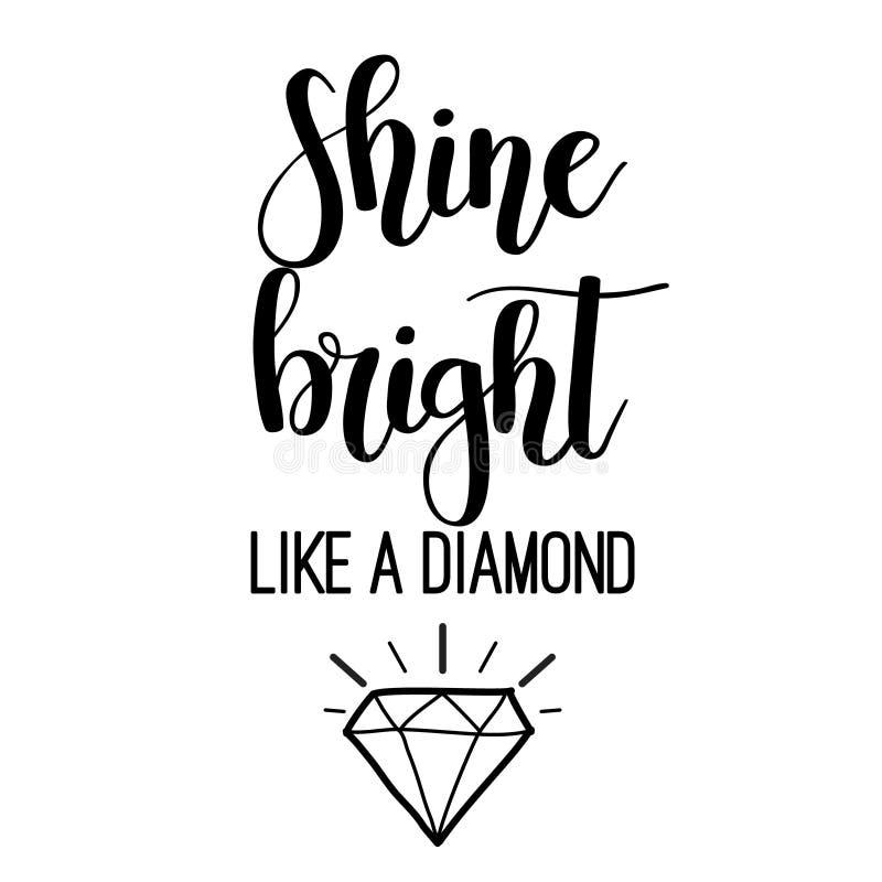 Brillo brillante como letras del diamante ilustración del vector