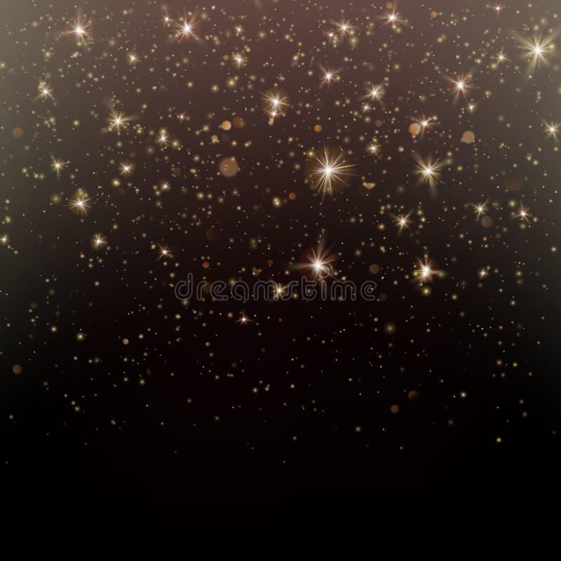 Brillo de las partículas del fondo oscuro mágico del polvo del brillo y de estrella del oro que brilla intensamente EPS 10 ilustración del vector