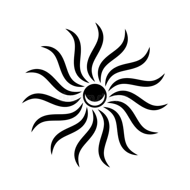 Brillo de los rayos del sol del vector Icono céltico bajo la forma de luna invertida dentro del sol ilustración del vector