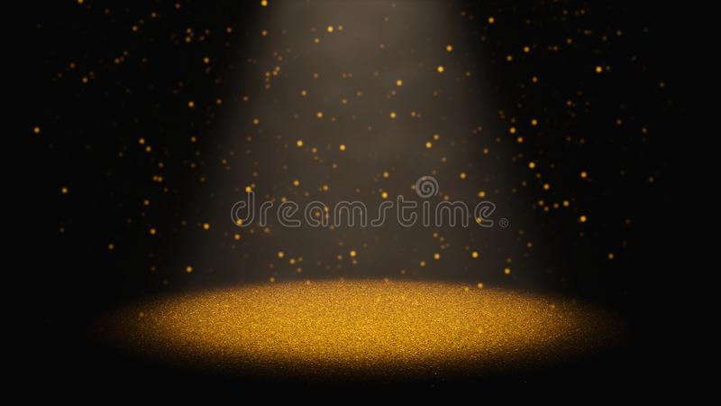 Brillo de oro del centelleo que baja a través de un cono de la luz en una etapa imagen de archivo libre de regalías