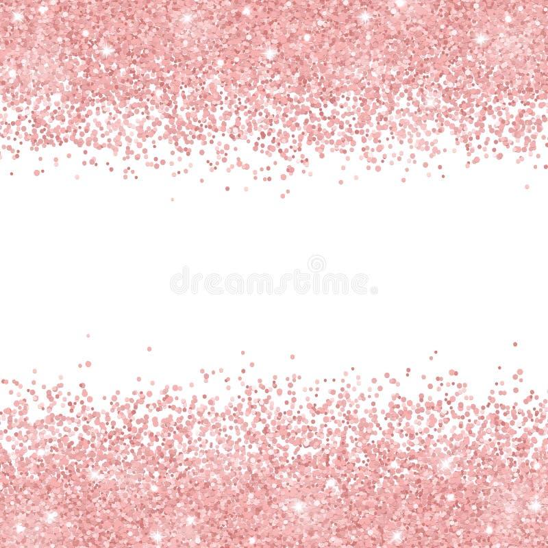 Brillo del oro de Rose dispersado en el fondo blanco Vector libre illustration