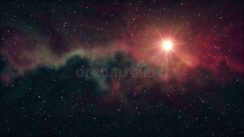 Brillo grande solitario de la estrella en luz colorida fresca esc?nica de la nebulosa de las estrellas del cielo nocturno del eje libre illustration
