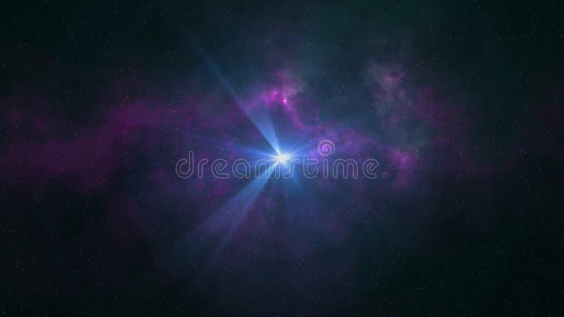 Brillo grande solitario de la estrella en luz colorida fresca esc?nica de la nebulosa de las estrellas del cielo nocturno del eje stock de ilustración