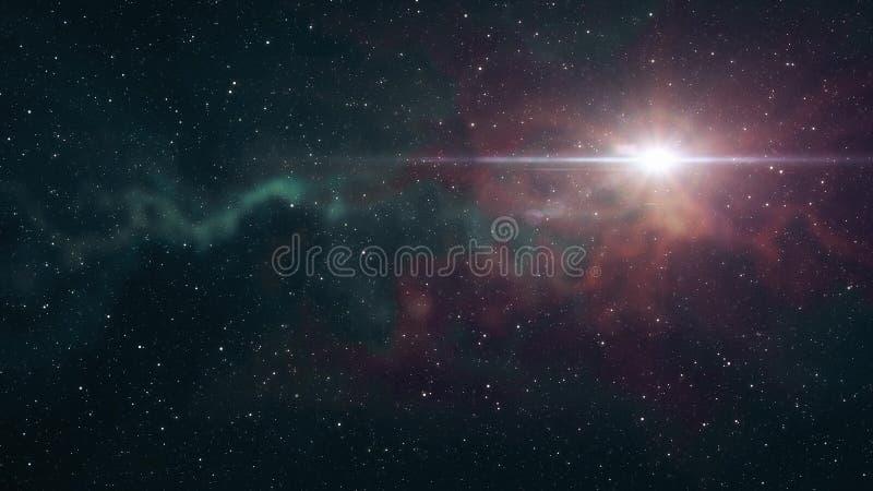 Brillo grande solitario de la estrella en luz colorida fresca esc?nica de la nebulosa de las estrellas del cielo nocturno del eje ilustración del vector
