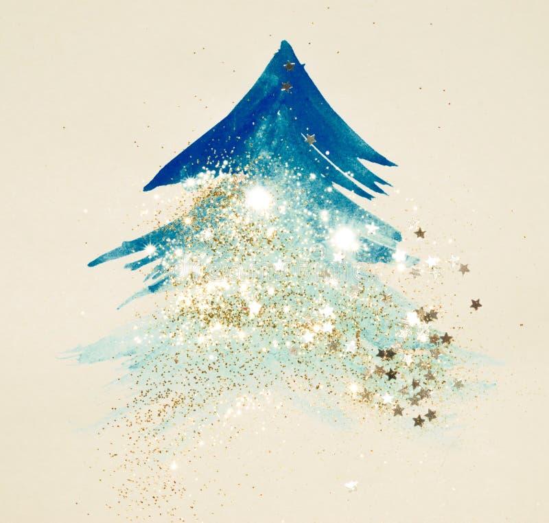 Brillo y estrellas que brillan en el árbol de navidad azul abstracto de la acuarela en colores nostálgicos del vintage libre illustration