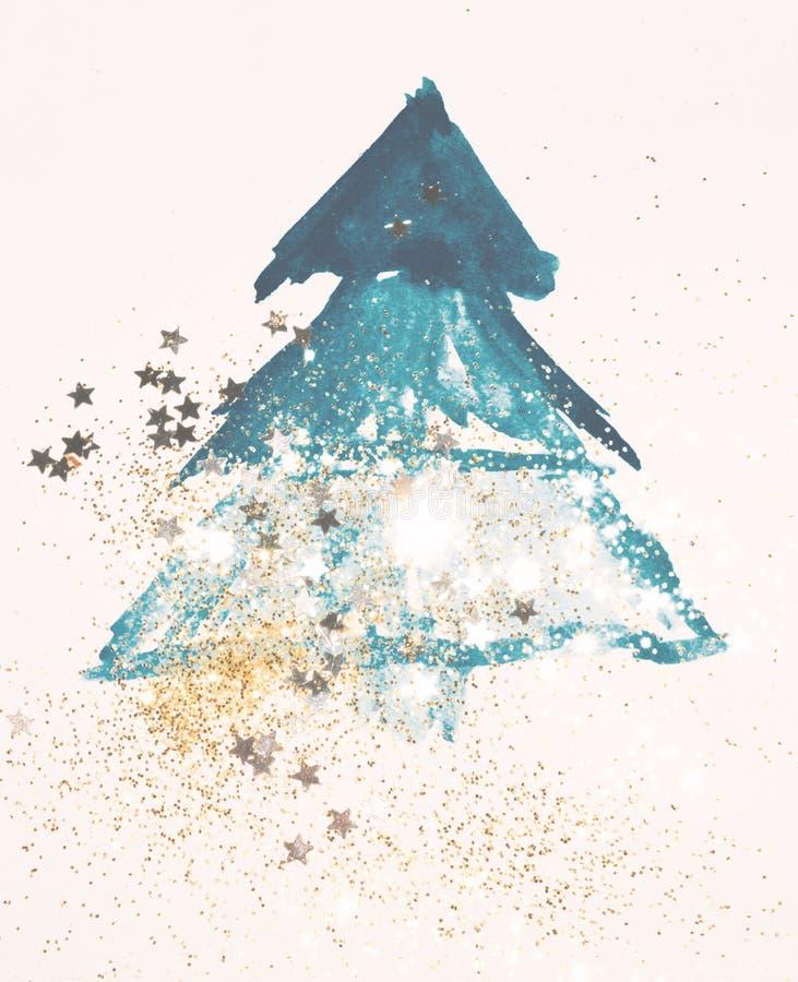 Brillo y estrellas que brillan en el árbol de navidad azul abstracto de la acuarela en colores nostálgicos del vintage ilustración del vector