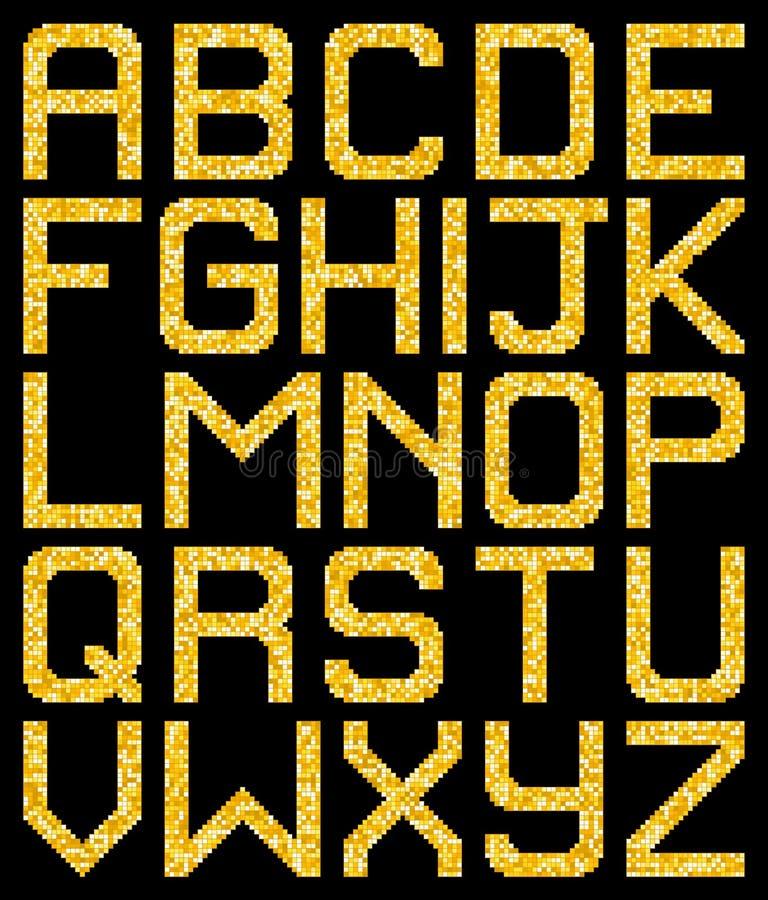 Brillo A-Z Letters del oro del pixel Vector EPS8 libre illustration