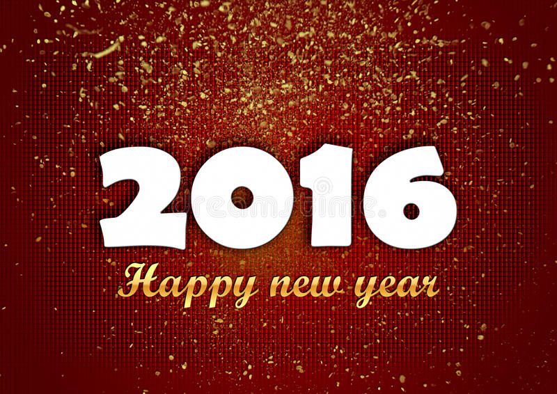 Brillos de oro de la Feliz Año Nuevo 2016 rojos fotos de archivo