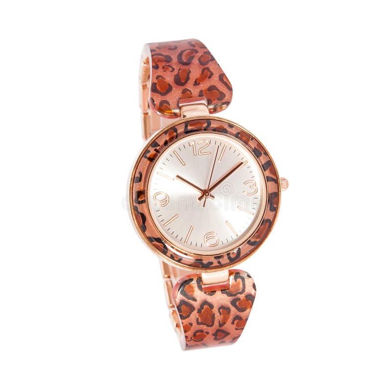 Brillos del ámbar de la mujer y reloj del leopardo foto de archivo libre de regalías